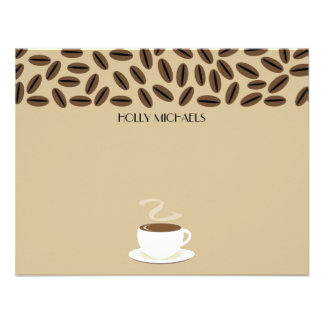 Coffee Beans Cup Of Coffee Flat Notecards Invitation