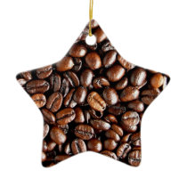 Coffee Beans Dark and Roasted Texture Pattern Ceramic Ornament