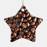 Coffee Beans Dark and Roasted Texture Pattern Double-Sided Star Ceramic Christmas Ornament