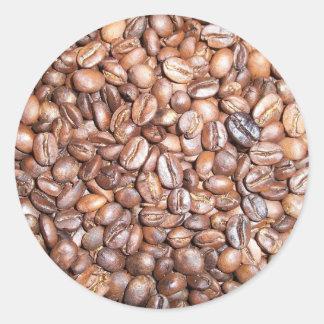 Coffee beans design classic round sticker