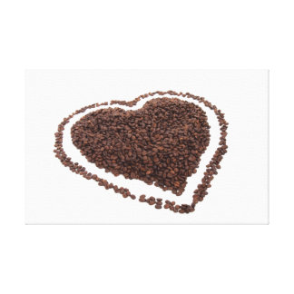 Coffee beans heart canvas print