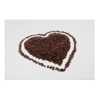 Coffee beans heart poster