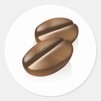Coffee Beans Illustration Classic Round Sticker
