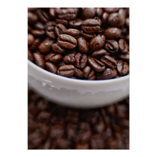 Coffee Beans in a White Cup Print