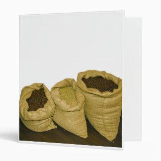 coffee beans in burlap sack binder