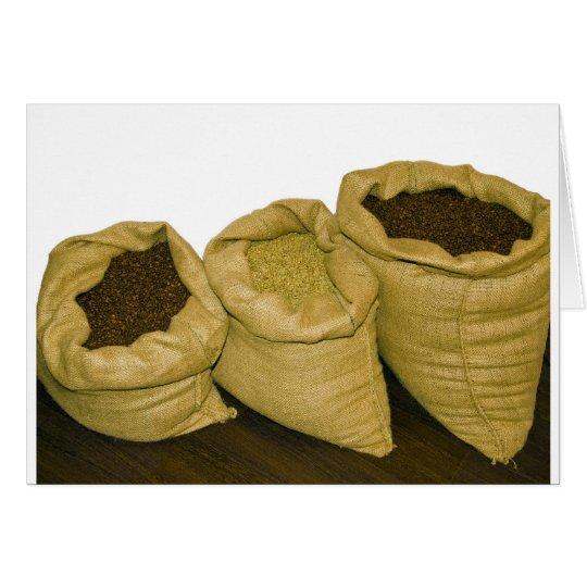 coffee beans in burlap sack card