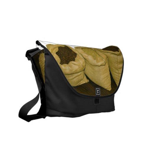 coffee beans in burlap sack messenger bags