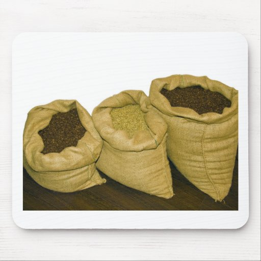 coffee beans in burlap sack mouse pads
