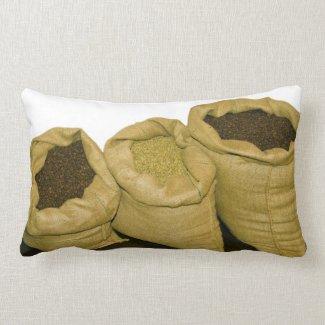 coffee beans in burlap sack pillow