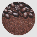 Coffee Beans - Java Bean Customized Templates Classic Round Sticker