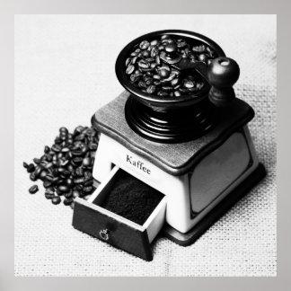 Coffee beans Kaffeemühle black of Weis poster