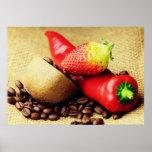 Coffee beans Kivi strawberry pepper Poster