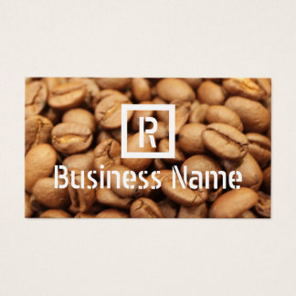 Coffee Beans Monogram Roasted Modern Coffee Business Card
