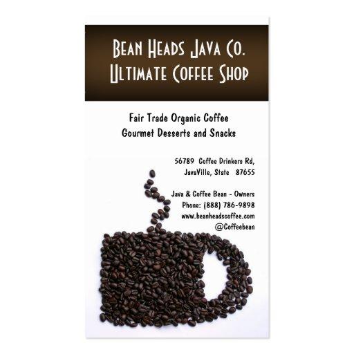 Coffee Beans Mug Shape Coffee Shoppe Business Card