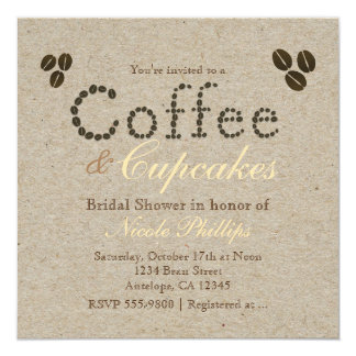 COFFEE Beans Natural Rustic ANY EVENT Invitations
