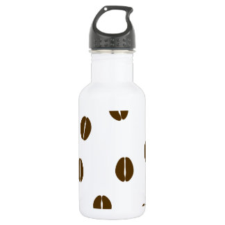 Coffee beans on a white background water bottle