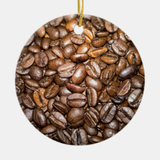 coffee beans Double-Sided ceramic round christmas ornament