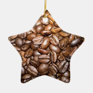 coffee beans Double-Sided star ceramic christmas ornament