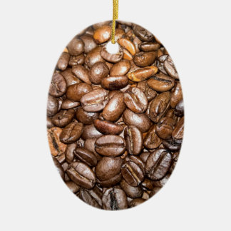 coffee beans Double-Sided oval ceramic christmas ornament