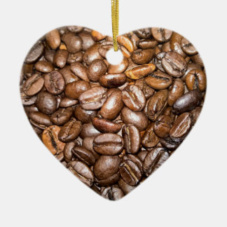 coffee beans Double-Sided heart ceramic christmas ornament
