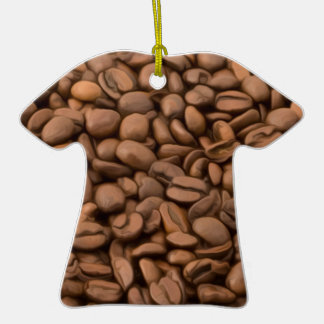 Coffee Beans Double-Sided T-Shirt Ceramic Christmas Ornament