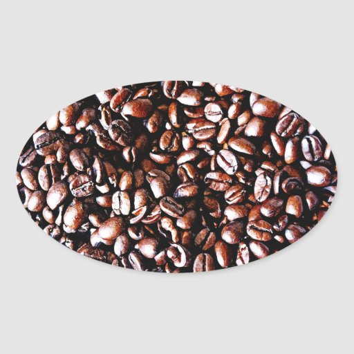 Coffee Beans Pattern - Dark Roast Oval Sticker