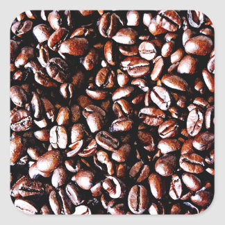 Coffee Beans Pattern - Dark Roast Square Sticker