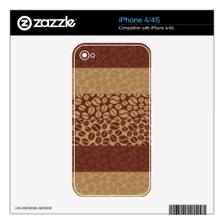 Coffee Beans Pattern Skin For iPhone 4