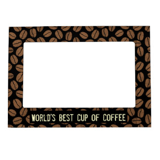 Coffee Beans Pattern with Custom Text Magnetic Picture Frame