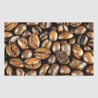 Coffee beans rectangular sticker