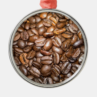 coffee beans round metal christmas ornament