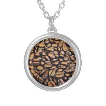 coffee beans silver plated necklace