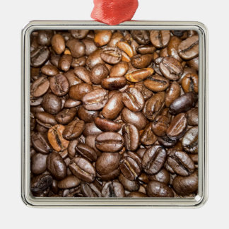 coffee beans square metal christmas ornament