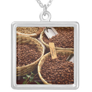 Coffee Beans Square Pendant Necklace