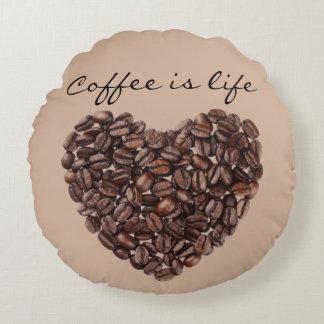 Coffee Beans Theme Round Pillow