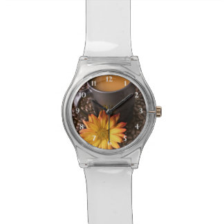Coffee Beans Yellow Daisy Wristwatches