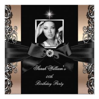 Coffee Beige Birthday Party Black Silver Photo Card