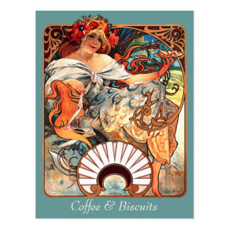 Coffee & Biscuits CC0411 Alphonse Mucha Postcard