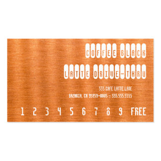 Coffee Black Re-Text on Copper Punchcard Double-Sided Standard Business Cards (Pack Of 100)