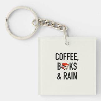 Coffee, Books & Rain Keychain
