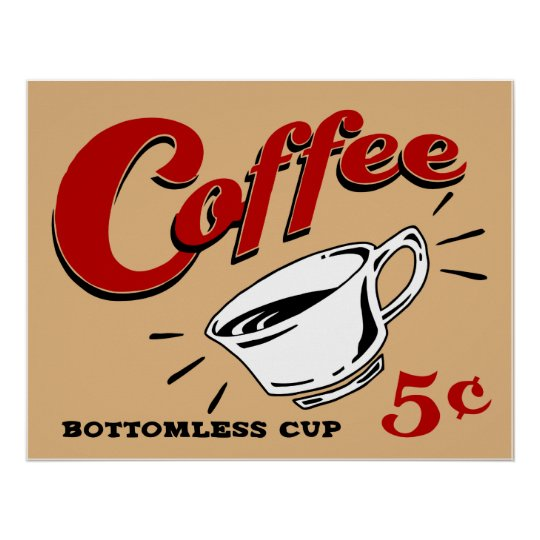 Coffee Bottomless Cup Poster