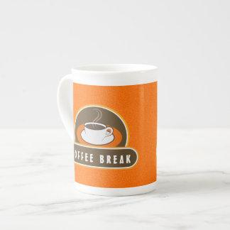 Coffee Break Cup Orange Cafe Bone China Mugs