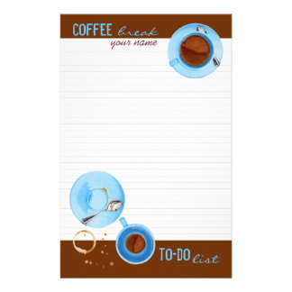 Coffee Break lined To-Do List Stationery