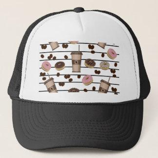 Coffee break pattern trucker hat