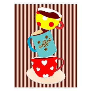 Coffee Break Stripes Postcard