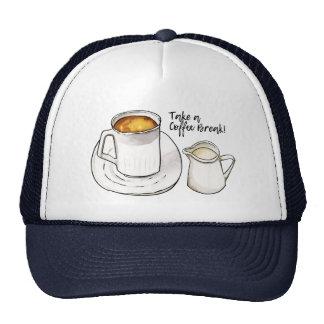 Coffee Break Watercolor and Ink Illustration Trucker Hat