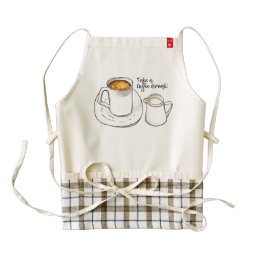 Coffee Break Watercolor and Ink Illustration Zazzle HEART Apron