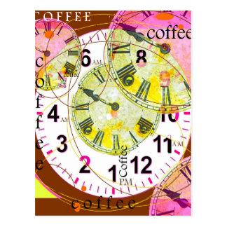 COFFEE BREAKS GUIDE CLOCKS BY Sharles Postcard