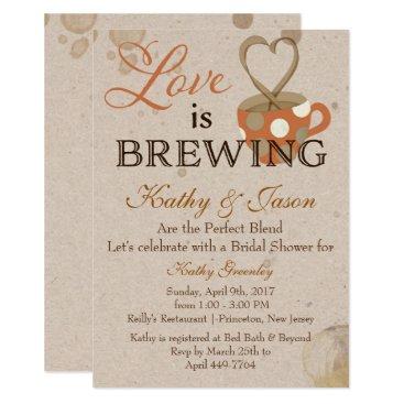 Coffee Themed Coffee Bridal Shower Invitation