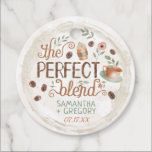 """Coffee Bridal Wedding Shower   The Perfect Blend Favor Tags<br><div class=""""desc"""">These pretty favor tags are perfect for your wedding or bridal shower coffee favors. They include two watercolor coffee cups and beans with floral accents in shades of sage green, dusty vintage pink, and coffee brown. The design is framed with a round coffee ring. The background has a very light...</div>"""